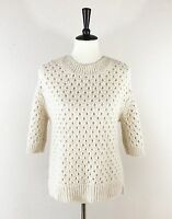 ANN TAYLOR Alpaca Wool Sweater Womens Sz S Cream Drop Sleeve Net Pattern NWOT
