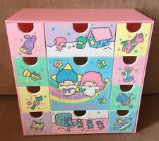 VINTAGE LITTLE TWIN STARS SANRIO STORAGE JEWELRY BOX WITH DRAWERS 1984 PINK
