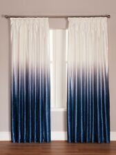 Ombre Luxury Velvet Lined Pencil Pleat Curtains Grey & Blue **Exclusive To Us**