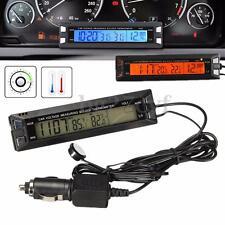 Car Auto LCD Digital Thermometer Clock Temperature Voltage Meter Measuring Gauge