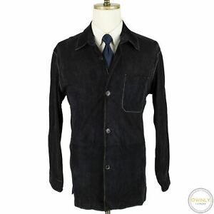 Seraphin Blue 100% Goat Suede Leather Top Stitch Unstructured Shirt Jacket 44US