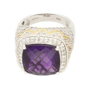 Silver Simulated Amethyst & Simulated Diamond Halo Cluster Ring (Size P) 18x18mm