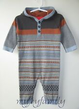 HANNA ANDERSSON Cozy Stripe Sweater Romper Dark Heather Grey 90 3T 3 NWT