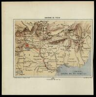 Peking China environs 1880 Erhard color lithographed small map Pe-Tchi-Li