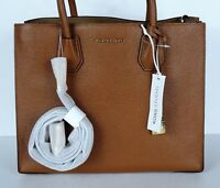 New MICHAEL KORS MERCER LARGE STUDIO CONVERTIBLE luggage LEATHER BAG tote gold