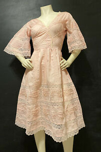 DeadStock Mexican Floral Lace Wedding Dress Pastel Pink Bell Sleeve PinTuck 70s