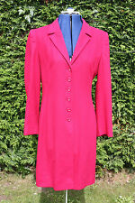 Size 10 Kaliko Red wool silk viscose fitted coat knee length V neck buttoned