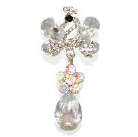 BROCHE mujer plata cristales transparentes strass piedras prendedor novia CC10