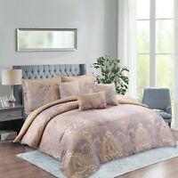 Rainbow Collection Luxury 7-Piece Jacobean Floral Comforter Set Queen/King/Cal K