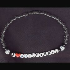 I LOVE VOLLEYBALL NECKLACE Team Player Novelty Bead Funky Jewelry STRETCH CHOKER