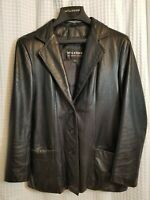 Wilsons Leather Jacket Womens Black Size Medium EUC Fitted Blazer