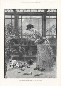 1883 PRINT LADY SCOLDS FOX TERRIER DOG FOR BREAKING PLANT POT by S T DADD b177