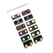 12 Pairs Faux Pearl Earrings Round Ball Women Ear Stud Multi-color Earrings Set