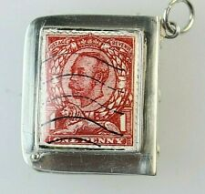 SILVER STAMP CASE VICTORIAN ENAMEL STAMP ONE PENNY