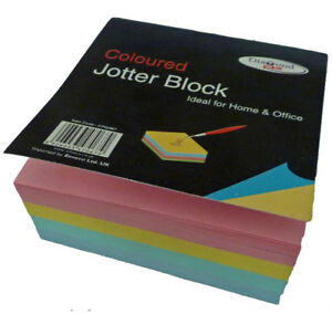 2 x 400 Coloured Paper Note Sheets Memo Jotter Block Box Cube Holder Refill