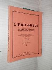 LIRICI GRECI D Barresi 1954 libro manuale corso classici saggistica greco di
