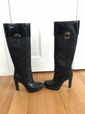 Christian Dior Initials Boots Size 9 US Black Leather Knee High