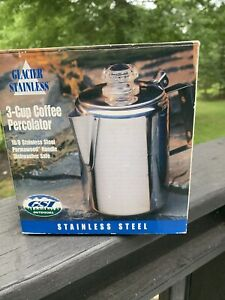 Glacier Stainless 3 Cup Percolator Coffee Camping Outdoor Original Box