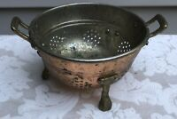 VINTAGE BERRY/VEGETABLE STRAINER COLANDER WITH BRASS HANDLES AND FEET