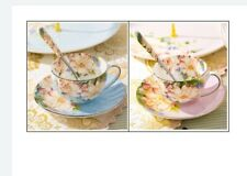 More details for tea  cups, coffee cups & saucers set. set of 6 pieces. 2 cups+2 saucers+2 spoons