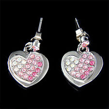 w Swarovski Crystal Pink Bling HEART Love Prom Party Stud Earrings Xmas gift New