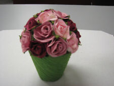 Natural Paper Mini Rose Topiary on Open Top Pot Party Wedding Gift Decor Favor