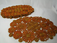 Vintage Raffia Placemats (6) in Orange/Brown Flowers, Made in Philippines