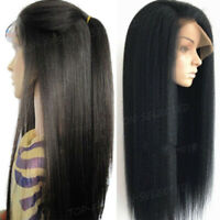 Glueless Wigs Yaki Straight Malaysian Remy Human Hair Lace Front Wig Pre Plucked