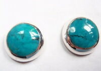 Blue Green Turquoise Circles 925 Sterling Silver Stud Earrings Round