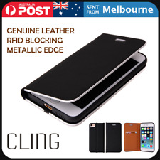 Genuine Leather Wallet Case RFID Blocking Cling for iPhone SE 2020 Xs X 8 8 Plus