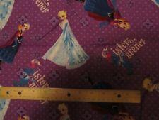 2 yards Purple Frozen Anna and Elsa Cotton Fabric