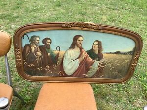 Vintage Sacred Jesus Framed Print Art antique gesso picture frame wood