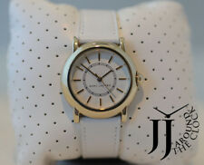 NEW MARC JACOBS LADIES COURTNEY WHITE DIAL WHITE LEATHER GOLD TONE WATCH MJ1449
