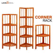 Finest Wooden Corner Shelf Standing Shelving Rack Home Decoration Maple 2-4Tier