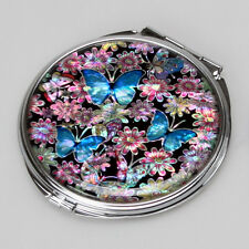 Mother of Pearl Blue Butterfly Pink Flower Compact Cosmetic Makeup Purse Mirror