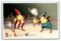 Postcard Best Easter Wishes chicks playing game International Art embossed D30