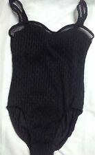 Upstream Women's Swimsuit 10 Black Textured Mesh Detail One Piece
