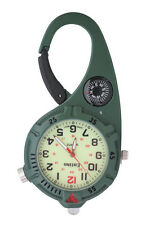 Mini Clip Watch – Compact Analog Display Carabiner Green Watch Ultra Bright LED