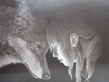 "3D Lenticular Picture Wolf and Girl 002 15 1/2""x 11 1/2 102"