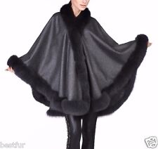 Dark Grey Cashmere Cape Wrap Shawl with Fox Fur Trim New