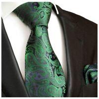 Krawatten Set 2tlg grün paisley Seidenkrawatte + Einstecktuch Paul Malone 510