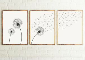 Set of 3 Dandelion Black&White Floral Art Prints. Great Minimalist Decor