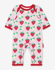 Toby Tiger Strawberry Flower Organic Cotton Sleepsuit Babygrow Rompersuit