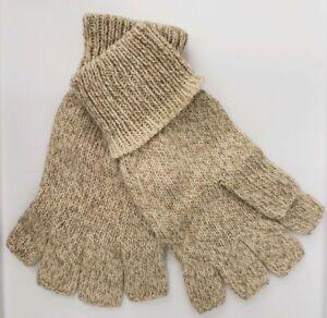 1 Pair Ragg Wool Heavyweight Fingerless Hunting / Fishing Gloves Size Large