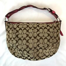 Coach Hand Hag Hobo C Signature Braided Leather Strap Brown Pink M0782-11858