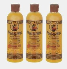 3 Howard FEED N WAX Wood Polish & Conditioner Clear Beeswax & Orange Oil 16 oz