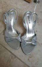 Ladies glittery silver/grey open toe sandals by Dune size 3