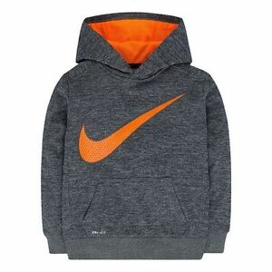 NIKE Boys Therma-FIT Fleece Space-Dyed Hoodie **GRAY HEATHER/TOTAL ORANGE** NWT
