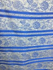 White Royal Blue Floral Striped Chenille Upholstery Fabric (54 in.) Sold Bty