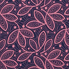 By 1/2 Yard ~ Amy Butler Cotton Fabric ~ Violette Leaf Lines - Pink Floral